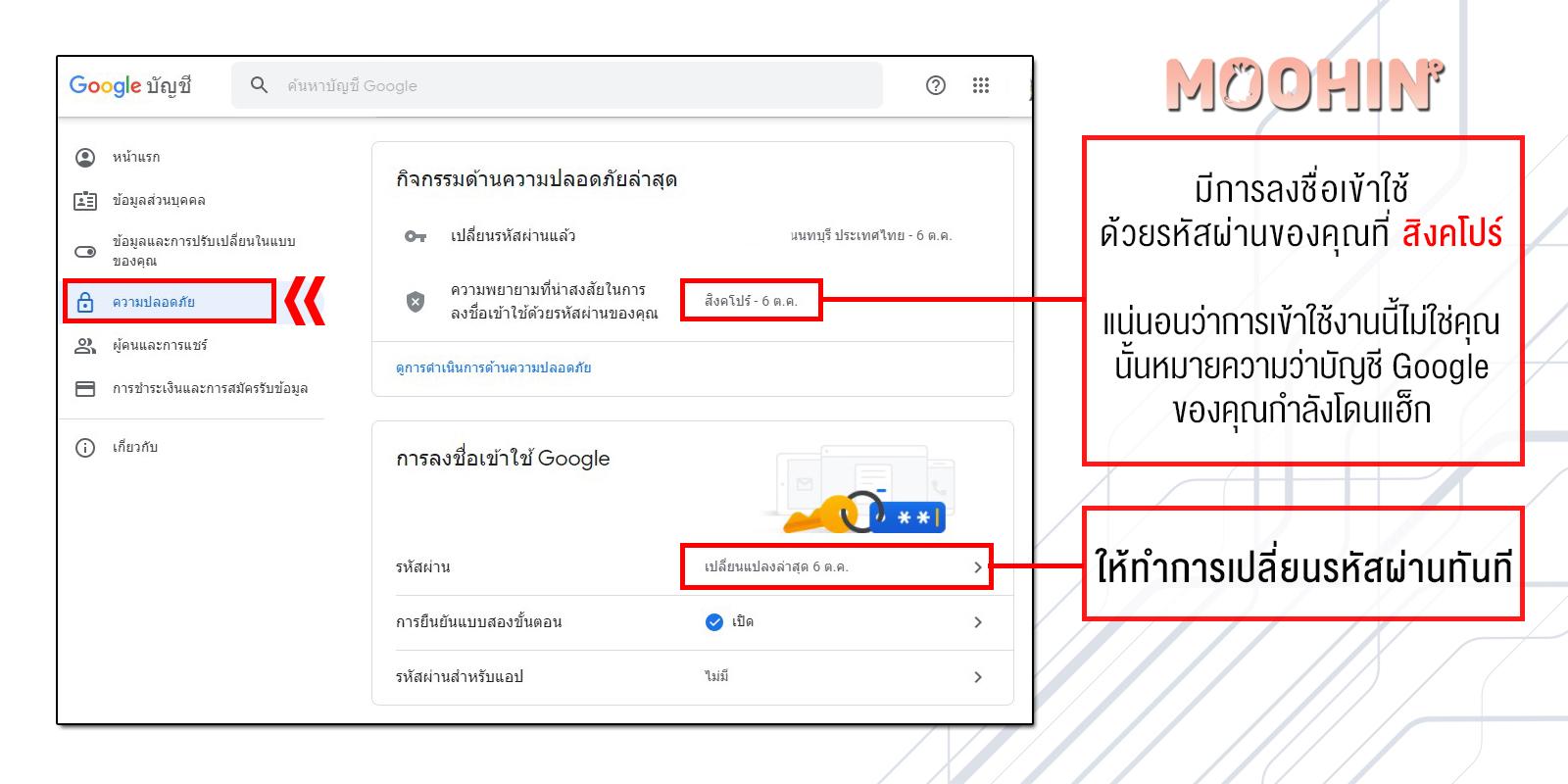 เปลี่ยนรหัสผ่าน Gmail